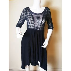 Free People black crochet lace dress size 8